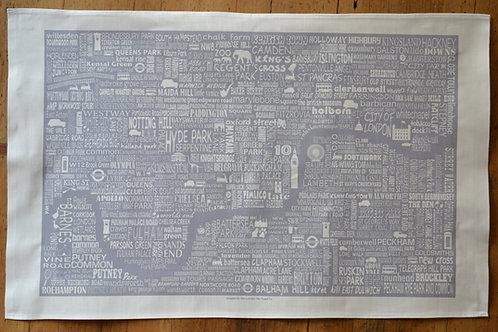 London Map Tea Towel - Grey
