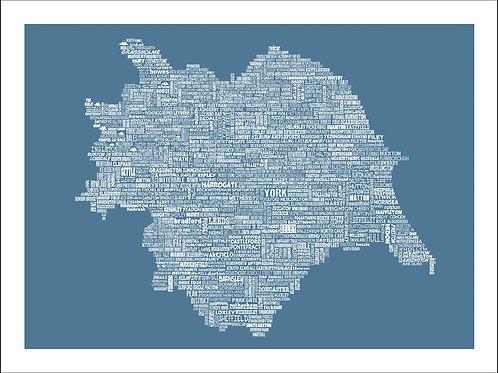 NEW! Typographic Yorkshire Mini Map Print