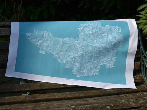 NEW!! Somerset Map Tea Towel - Blue