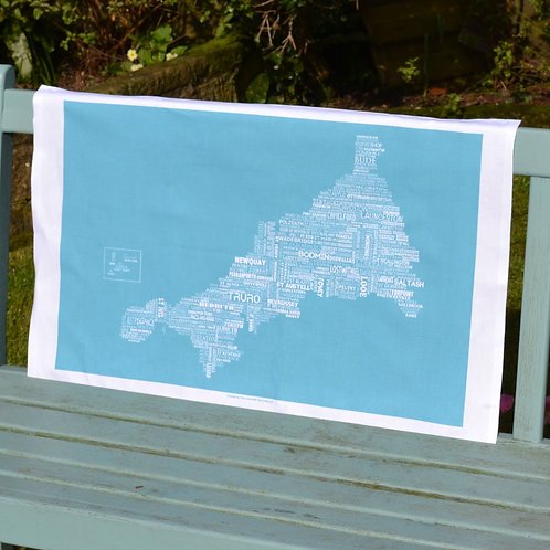 Cornwall Map Tea Towel - Blue