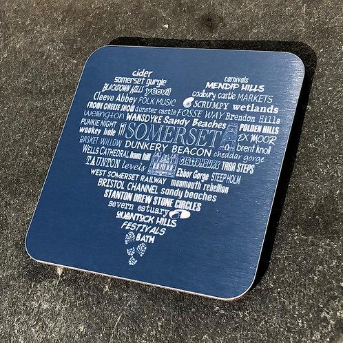 Somerset Heart Coaster - Charcoal