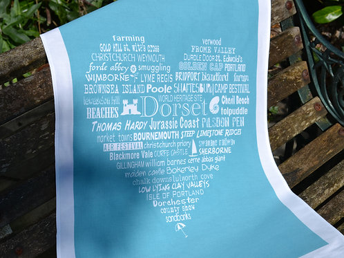 NEW! Dorset Typographic Heart - Blue