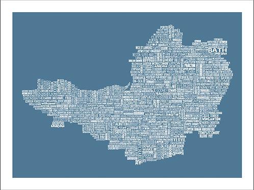 NEW! Somerset Typographic Mini Map Print