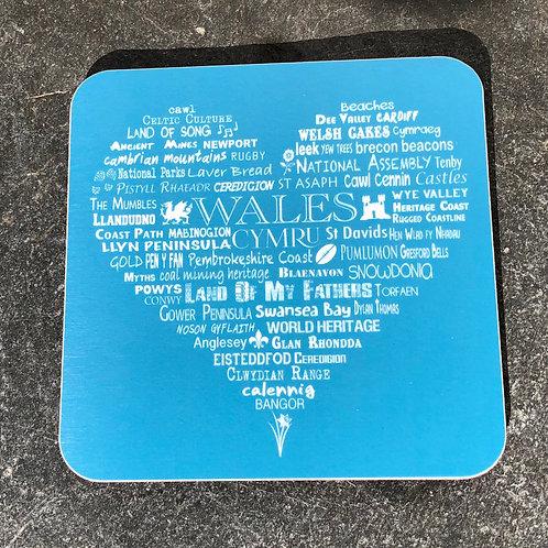 Wales Heart Coaster - Aqua