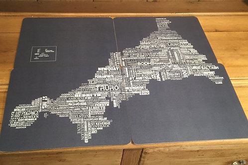 Typographic Cornwall Map Jigsaw Set - Slate
