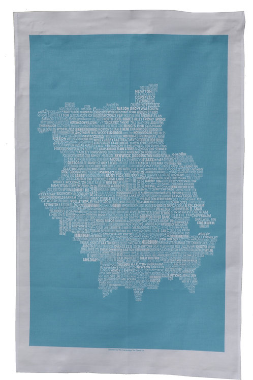 Cambridgeshire Map Tea Towel - Blue