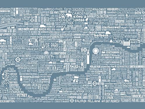 Greetings Card London Map - Blue