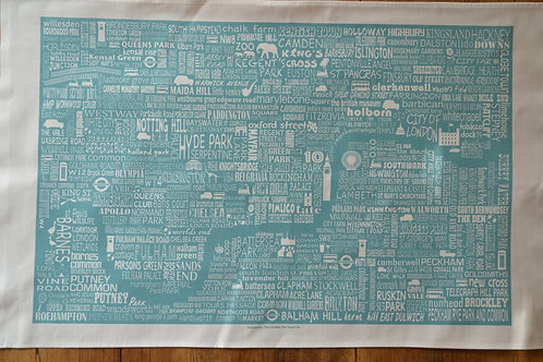 London Map Tea Towel - Blue