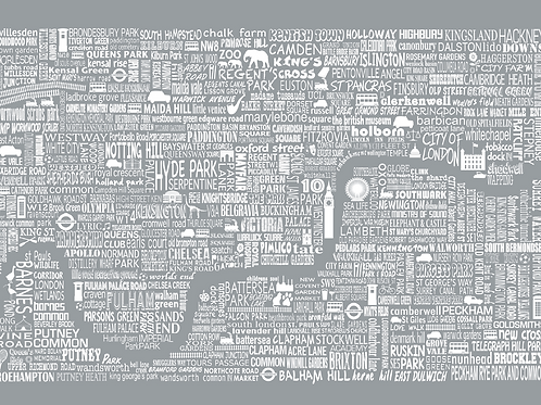 Greetings Card London Map - Grey