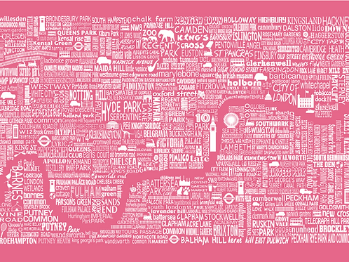 NEW! London Map Card - Rose