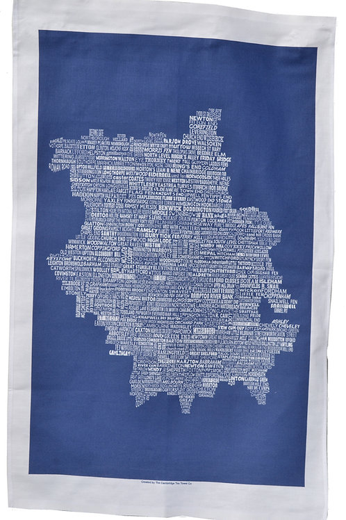 Cambridgeshire Map Tea Towel - Navy