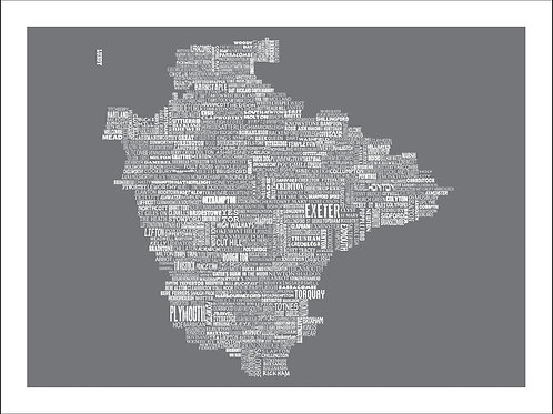 NEW! Devon Typographic Mini Map Print