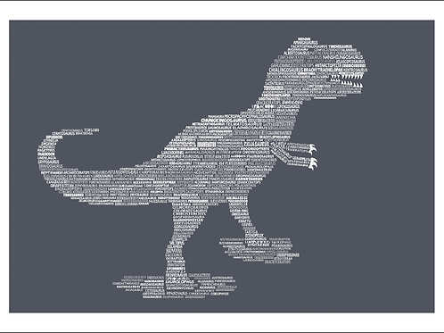Typographic T Rex Print