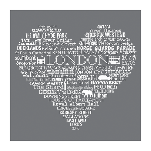 Typographic London Heart Print