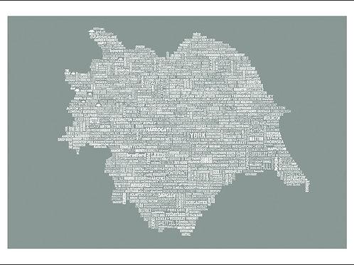 NEW! Typographic Yorkshire Large Map Print
