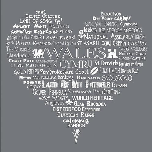 Wales Heart Card - Slate