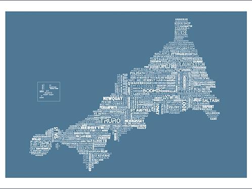 Typographic Cornwall Large Map Print