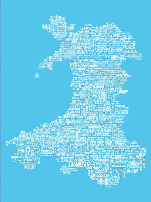 Wales Map Card - Bright Blue