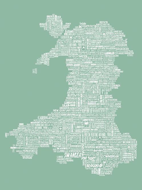 Wales Map Card - Meadow
