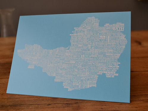 Somerset Map Card - Bright Blue