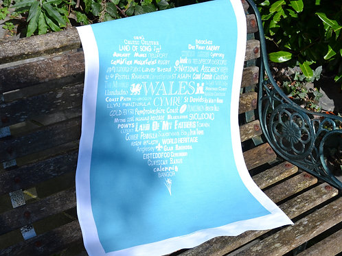 New! Wales Typographic Heart - Blue