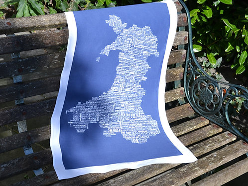 New! Wales Typographic Map - Navy