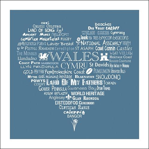 Typographic Wales Heart Print