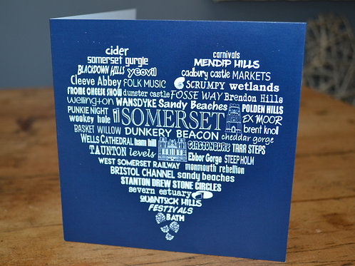 Somerset Heart Card - Charcoal