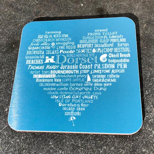 Dorset Heart Coaster - Aqua