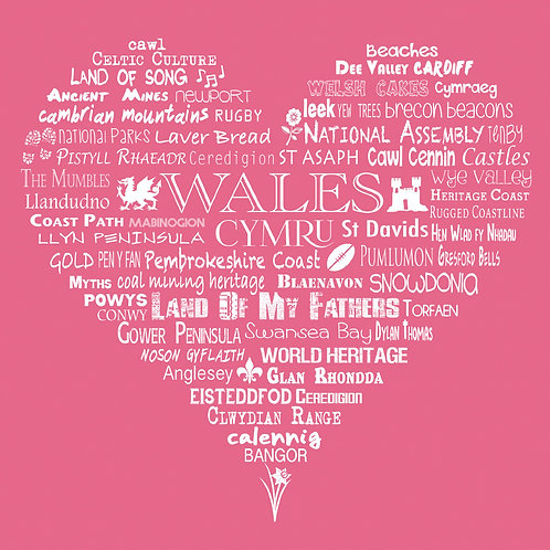 Wales Heart Card - Rose