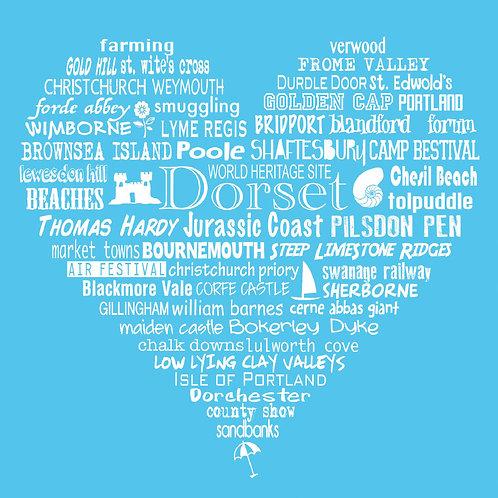NEW! Dorset Heart Card - Bright Blue