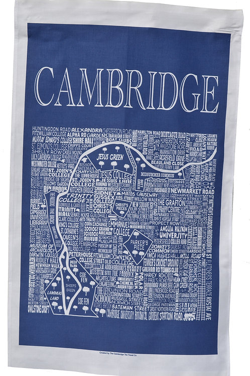 Cambridge City Map Tea Towel - Navy