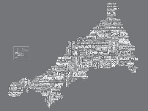 Cornwall Map Card - Slate