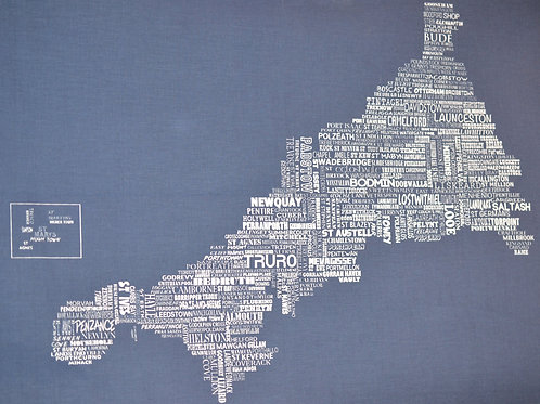 Cornwall Map Tea Towel - Navy