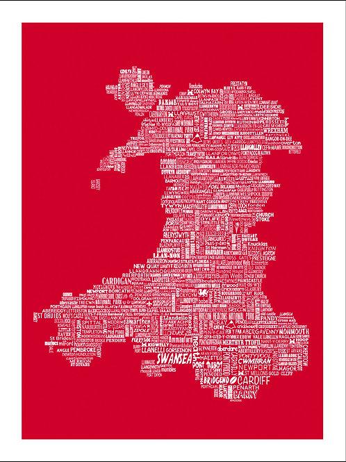 Wales Typographic Mini Map Print