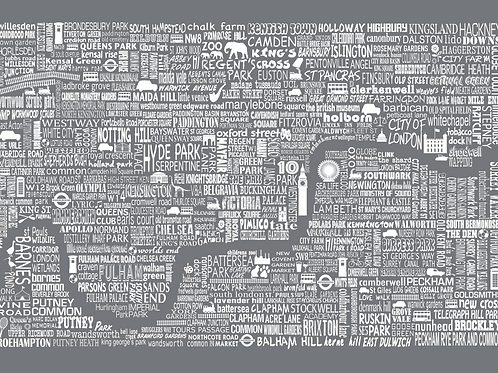 NEW! London Map Card - Slate