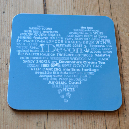 Devon Heart Coaster - Aqua