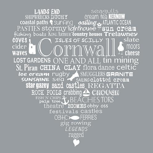 Greeting Card Cornwall Heart - Grey