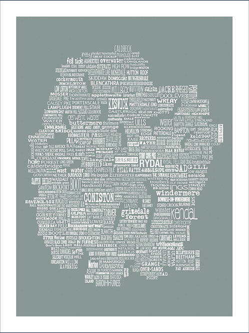Typographic Mini Map - Cumbria & the Lakes