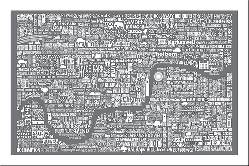 Typographic London Large Map Print