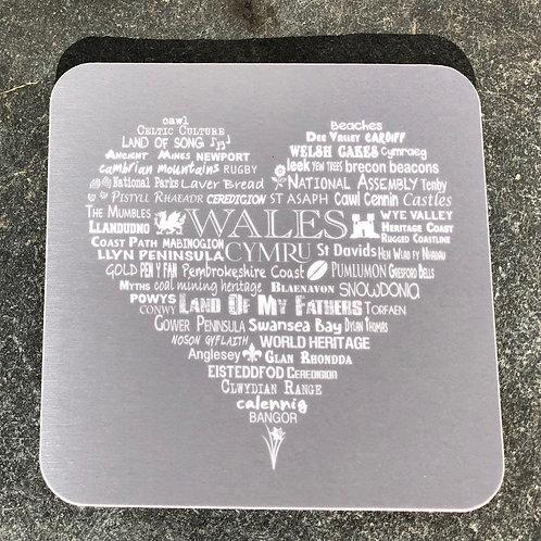 Wales Heart Coaster - Slate