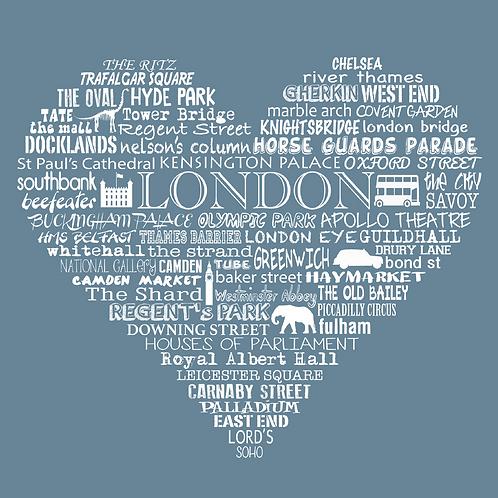Greetings Card London Heart - Blue
