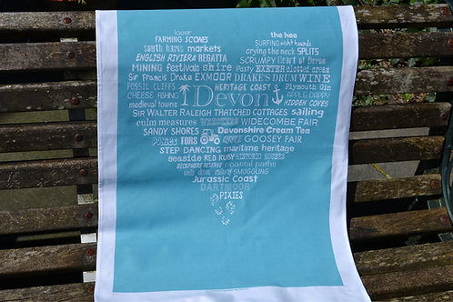 Devon Heart Tea Towel - Blue