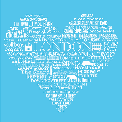 NEW! London Heart - Bright Blue