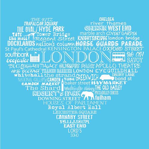 NEW! London Heart - Bright Blue