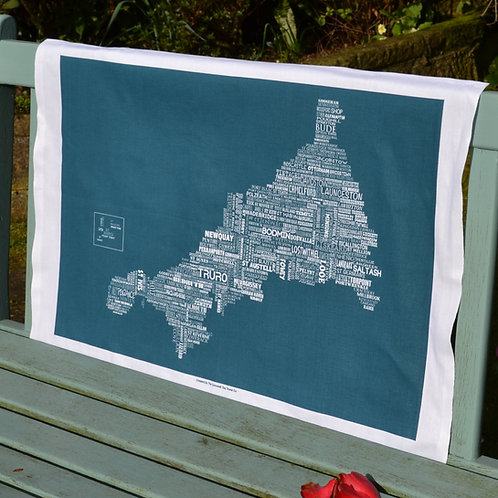 Cornwall Map Tea Towel - Sea Swell