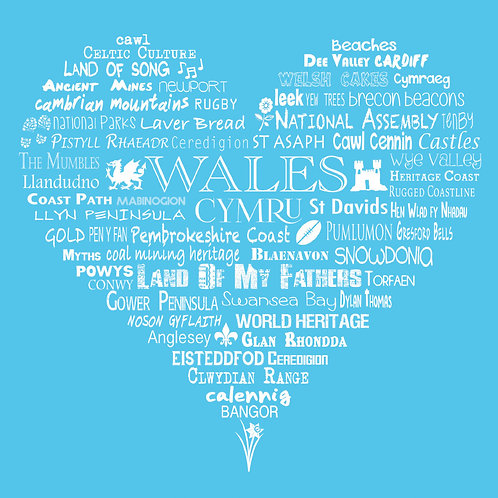 Wales Heart Card - Bright Blue