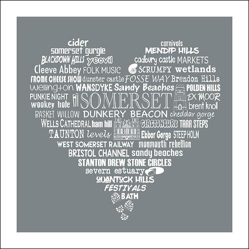 NEW! Somerset Typographic Heart Print