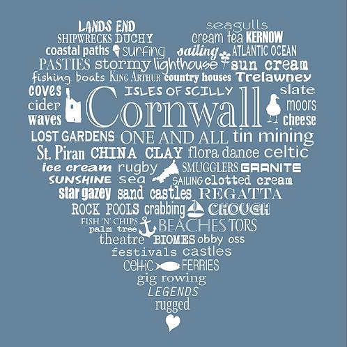 Greeting Card Cornwall Heart - Blue