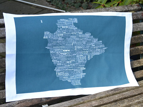 Devon Map Tea Towel - Sea Swell
